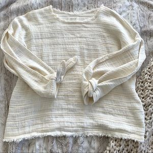 McGuire Oversized Cut Out Tie Sleeve Linen Sweater